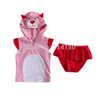 Vivo-biniya Girls Swimwear Children Cartoon Bathing Suit Pink Sleeveless Clothes+Red Dress Two-Piece Swimsuit 1pcs Free Shipping