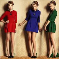 Free shipping Fashion European Style women Dress Slim Empire Waist Three Quarter Sleeve Casual Dress Sweet Princess Dress SCF76