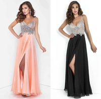 2015 New See Through Long Black Prom Dresses For Special Occasion Sexy Spaghetti Strap V Neck Crystal Beaded Chiffon Open Back