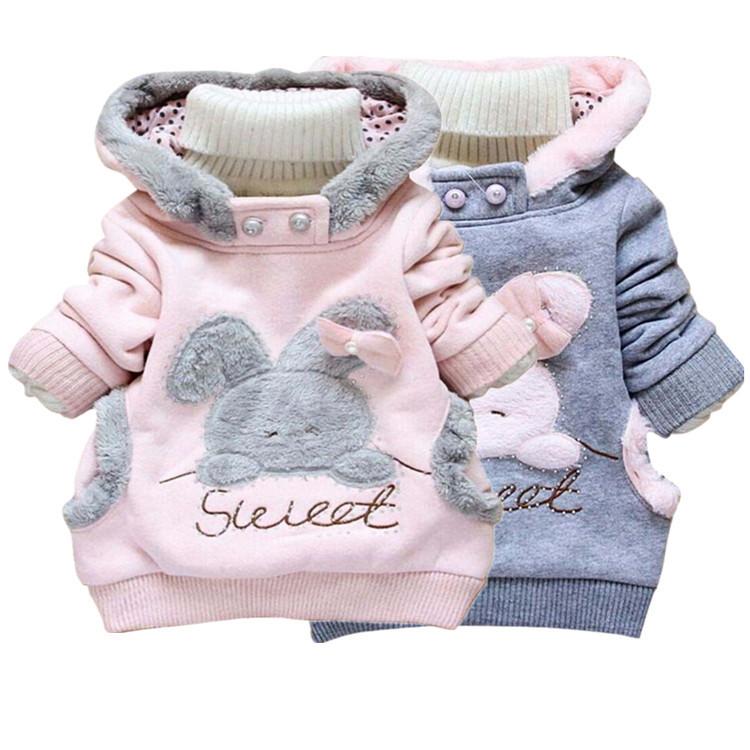 New winter outerwear down jacket baby clothing children outerwear winter coat girls parka hoodies. cartoon rabbit down jacket(China (Mainland))