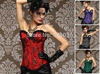 Free shipping 1307 Sexy Corset Dress Top Basques Cake Pants Burlesque Halloween Lingerie