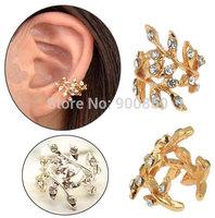 Women Punk Vintage Hollow Crystal Leaf Ear Cuff Wrap Clip Earrings Gold/Silver Plated Women's Crystal Leaves Clip Ear Cuff Warp