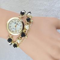 Europe New Fashion Luxury Jewelry Women's Casual Bracelets Watches,Rose Flower Woman Dress Leisure Long Chain Pearl Quartz Watch