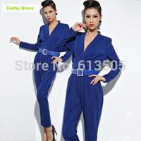 2015 Spring / Fall Elegant Blue Overalls Women Jumpsuit New Retro Bodysuit Female Macacao Feminino High Quality One Piece Pants