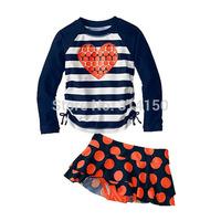 Vivo-biniya Kid Girls Swimwear Children Two-Piece Swimsuit Stripe Long Sleeves +Shorts+Hat Girls Bathing Suit 1pcs Free Shipping