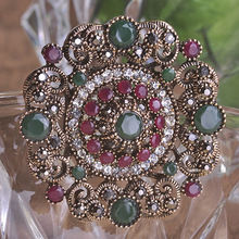 Auspicious New Year hijab Brooch Pin Up CZ Zircon Crystal joias turco Delicate Gifts Broches alfileres