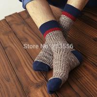 1lot=5pairs=10pcs 2015 new retro-style Brand men's socks thick winter socks thick lines in tube socks wool socks mixed colors