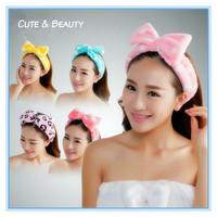 Cute&Beautiful Bowknot Hair Wrap Shower Wash Face Bath Spa Make-up Cosmetic Headband Hairband