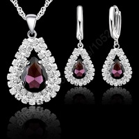 "Free Shipping Stock 925 Sterling Silver Purple Crystal Pendant Necklace Hoop Earring Set Ear Leverback Necklace 18"" Silver Chain"