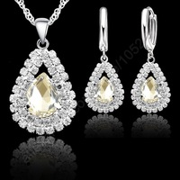 "Free Shipping Stock Real 925 Sterling Silver White Austrian Crystal Pendant Necklace Hoop Earring Sets  Party Gifts 18"" Necklace"