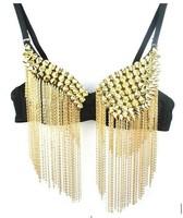 1 piece night club gold silver costume lady gaga female singer jazz dance twirled clothing irregular rivet tassel chain bra