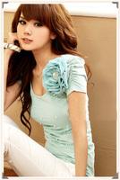 Women's slim, sweet, pearl chiffon flower decoration  T-shirt A9855