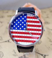 US Flag Wholesale women men wristwatches ladies fashion leather strap quartz watch women watches men 2014121701