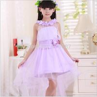 Elegant Bridal Flower Girl Dress For Wedding Party Evening Children's Violet Long Trailing Dress Princess 2-14 age