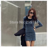 Free shipping Libres de franqueo female 2014 New Autumn korean bodycon dress stereo flower print La letra wool knitted vestido
