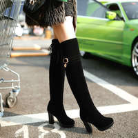 Fashion 2014 long-barreled high-heeled boots round toe female warm nubuck leather boots buckle D22