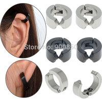 Fashion Men No Piercing Clip Earring Titanium Steel Round Men No Piercing Ear Cuff Wrap Black Silver Stainless Steel Earring