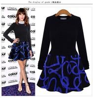 New Autumn Dress 2014 New Fashion O-Neck Knited Slim Easy Match Cotton Long-Sleeve Casual Dress Women Vestidos Free Shipping