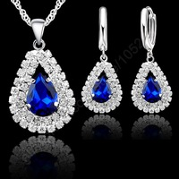 """Jewelry Sets Blue 925 Sterling Silver Austrian Crystal Pendant Necklace 18"""" Chain Hoop Earring Lever Back Women Gift Accessories"""