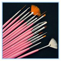 15pcs/set Pink Professional Acrylic Nail Art Brush Set Design Painting Pen Perfect Tools For Natural Nail Brushes Tools