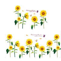 Free Shipping Modern Plant Sunflower Flower Wall Sticker Home Decoration Decals Vinyl adesivo de parede