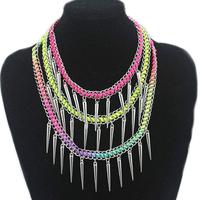 (Min order 6$)Fluorescent punk color rivet bracelet hand-woven handmade spike bangles+necklace Jewelry  (B2-041)