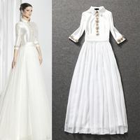 2015 New Spring Women Long Dress Exquisite 3D Flowers Appliques Three Quarter Sleeve Full Wedding Dress Formal Dress 2 Colors