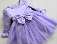Autumn new girls bow dresses princess dress children dress veil flower girl dresses Retails
