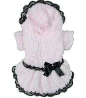 Fashion Dog Dress Princess Winter Lace Border Fake Fur Rich Velvet Costume Women Pet Clothes For Dogs Pink White S M L XL