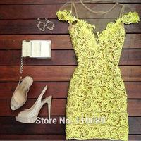 Fashion 2015 Women Sexy Lace Crochet Mini Dresses Floral Bodycon Mesh Club Plus Size Vestidos Robe Ropa Verao De Renda HBQ024