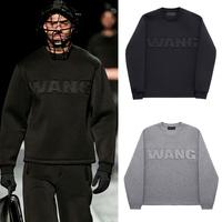 HOT women& Mens fashion show big WANG Embossing sweatshirt design long-sleeve space cotton mens hoodies casual black pullover