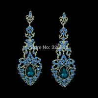 New Fashion Chandelier Blue Crystal Rhinestone Silver Earrings Bridal Long Drop Earrings For Women Wedding Jewelry Free Shipping