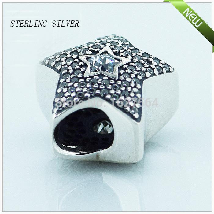 FL103 Pave Wishing star 925 sterling silver cubic zirconia Charm Beads Fits Pandora Bracelet Diy free shipping(China (Mainland))
