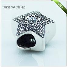 FL103 Pave Wishing star 925 sterling silver cubic zirconia Charm Beads Fits Pandora Bracelet Diy free shipping