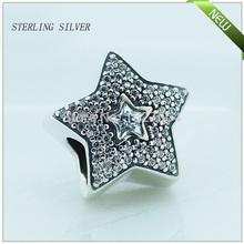 FL103 Pave Wishing star 925 sterling silver cubic zirconia Charm Beads Fits Pandora Bracelet Diy free