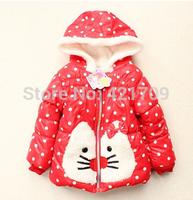 Free shipping Winter han edition girls cartoon cat hooded long-sleeved jacket