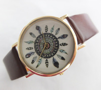 Women Dress Watch Quartz Watches Faux Leather Feather Geneva Watch free  shipping 10pcs