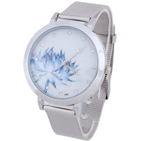 Fashion Blue Lotus Stainless Steel Mesh Quartz Wrist Watch Women Gifts