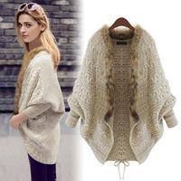 2015 new women European style spring autumn cardigan sweater shawl cape coat loose knit sweater batwing sleeve sweater coat