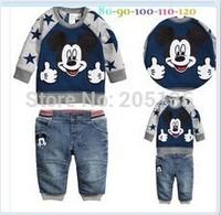 2014 New Autumn Spring Boys clothing set Children kids cartoon suit Sweater+jeans toddler boys clothes set Retail