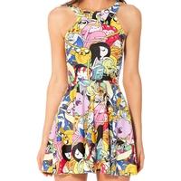 Vestidos Femininos Verao Women Summer Beach Dress Casual Sleeveless Cartoon Adventure Mini Dress Bro Ball Reversible Sun Dress
