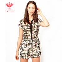 European Style Women Short Sleeve Elastic Waist Flower Print Plaid Chiffon Jumpsuit Ladies Shorts Female Rompers S M L J13751W