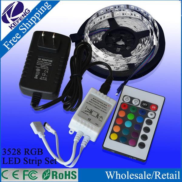Hot! RGB led strip 3528 flexible strip light DC12V 5M 300led+24key IR remote controller+power adapter EU/US/AU/UK Plug free ship(China (Mainland))