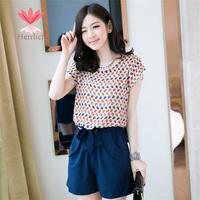 Korean Style Women Summer Short Sleeve Chiffon Cat Print Shorts Feminino Jumpsuits And Rompers Macacao Female Plus Size J13811S
