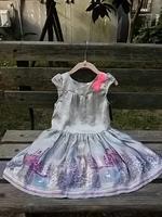 Free shipping hot Sell Girls Castle Spring Princess Dress Gray