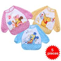 5 pieces Waterproof Baby Bib Cartoon Series Baby Towel Bibs & Burp cloths Baby Feeding Smock HT47