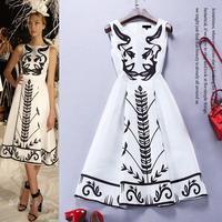 Top Quality New Hot Sale Dress Spring Summer Fashion 2015 Woman Black White Color Block Print 100%Silk Dress Retro Vintage Dress