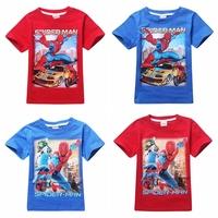 2015 boy's t shirt Spiderman 100% cotton short-sleeved t-shirt printing children's cartoon kids boys child's clothes