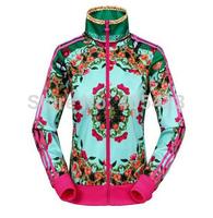 free shipping 1 pcs new brand Spring autumn fashion Design Women Casual Floral  Denim Jacket Printed sports jacket