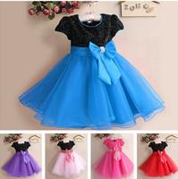 1Pc Retail NEW 2015 Summer Girl Dress Elegant Dress Party Baby Girl Princess Dress Children Clothing Christmas Dress 10 Colors